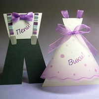 Bridal Wedding Table Cards for Children, Girl Dress Table Card, Boy Suit Table Card, Handmade Table Cards