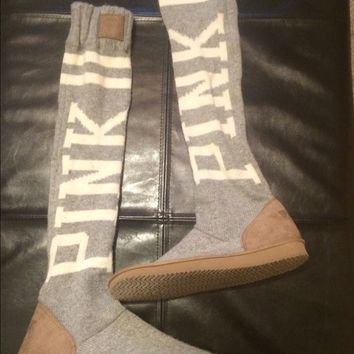 Brand new VS Pink Mukluk slipper boots grey/white