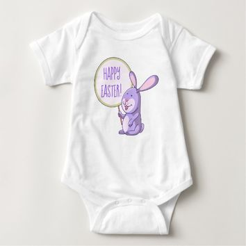 Lavender Pink Bunny Holding Board Baby Bodysuit