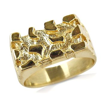 10 mm Wide Women's Square Nugget Ring in 14k Solid Yellow Gold