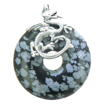 Dragon Evil Eye Protection Magic Amulet Lucky Donut Snowflake Obsidian Sterling Silver Pendant