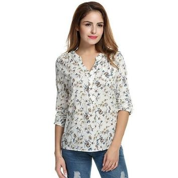 Women Floral Print Blouse Tops  Vintage Autumn Clothing Casual Roll Up Sleeve Cotton Fabric High Quality Blouse