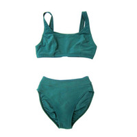 90s Dark Green Ribbed Bikini Sporty Two Piece Swimsuit Women's High Cut Waist Swim Suit 1990s Basic Sports Bra Top Suit Vintage Small