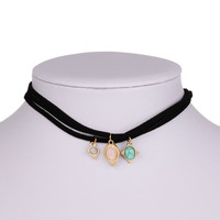 Gift Stylish New Arrival Shiny Jewelry Vintage Turquoise Pendant Chain Korean Punk Necklace [8581994759]