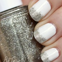 white and glitter nails - Google Search
