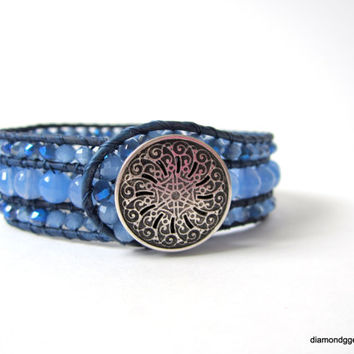 Women's True Blue Leather Beaded Cuff Agate Beaded Bracelet Crystal Blue Wrap Silver Button Cowgirl Beaded Leather Wrap Handmade Boho Chic