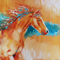 In the wind Horse Acrylic Painting - original artwork, canvas art, animal painting, horse painting, wall art