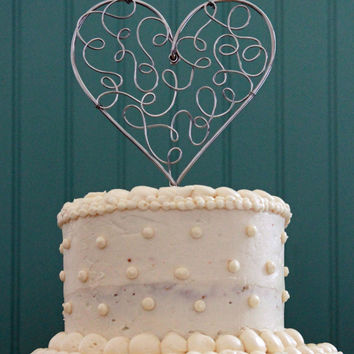 Filigree Lacy Heart Wire Wedding Cake Topper