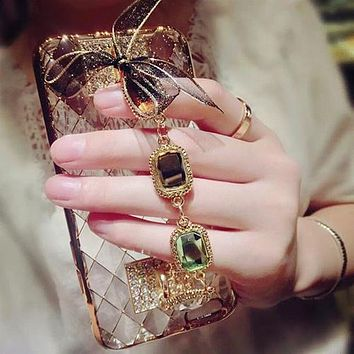 Phone Cases for iPhone 5s 6 6s 7 Plus 3D Bling Rhinestone Chain Girls Lace Bow Back for Samsung Note 3 4 5 7 A8 C7 S5 S6 S7 edge