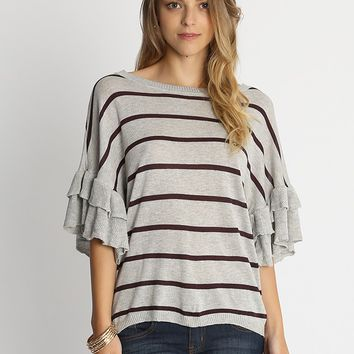 Valli Striped Knit Top In Gray | Ruche