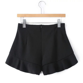 Summer Women's Fashion Casual Stylish Slim Shaped Ruffle Shorts [4919987460]