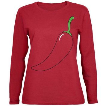 PEAPGQ9 Halloween Chili Pepper Costume of Cinco de Mayo Womens Long Sleeve T Shirt