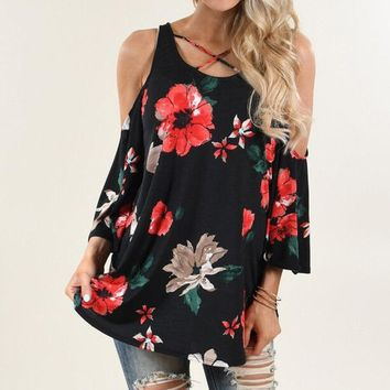 2017 Womens Summer Round Neck Off Shoulder T-Shirt Flare Sleeve Lace-up Crossed Boho Floral Print Loose Casual Tops Tees Shirt