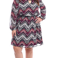 Plus Size Long Sleeve Chevron Printed Woven Dress