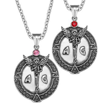 Archangel Michael Star of David Accents Love Copules or Best Friends Amulets Set Royal Red Pink Necklaces