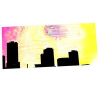 "Infinite Spray Art ""Skylined"" Pink Yellow Desk Mat"