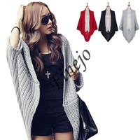 Lady Batwing Loose Sweater Coat Knitting Long Cardigan Shawl Outwear  17626 = 1901808196
