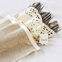 Wedding rustic flatware pockets, silverware wraps, linen with satin trim