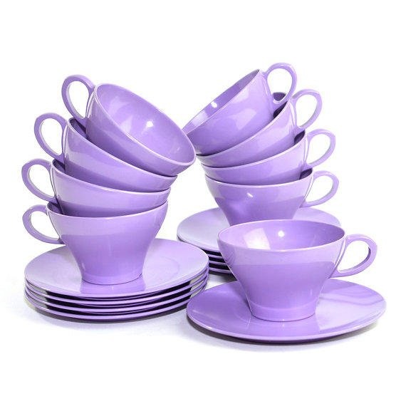 Purple Melamine Teacups Amp Snack Plates From One Rusty Nail