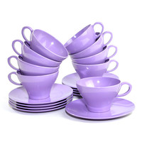 Purple Melamine Teacups & Snack Plates (18 Piece Set) – Melmac-Era Plastic Serving Dishes, Lavender – Tea Party Collection – Vintage Kitchen