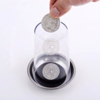 DCCKL72 Magic Trick Props Coin Penetrates into the Cup Tricks The Good Stretch COINS Through the Glass Magical Steel Cup Mat