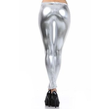 Punk Metallic Sexy Bright Sequin PU Faux Leather Leggings - Many Colors
