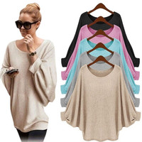 EV 25 Fairy Store Hot Selling Drop Shipping  Women Oversized Batwing Knitted Pullover Loose Sweater