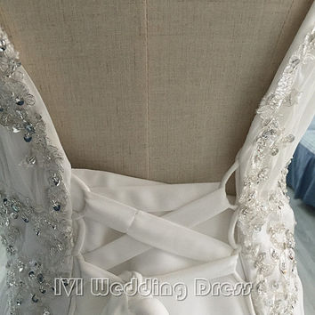 Real Photos Beaded Spaghetti Straps Pleated Chiffon Beach Wedding Dress with Sequins Evening Dress