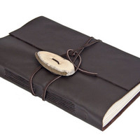 Large Dark Brown Leather Wrap Journal with Antler Closure - Ready to Ship -