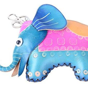 Pulama Animal Leather Purse Key Holder Cute Coin Purse Handmade Wallet Bag Elephant BONDI BLUE