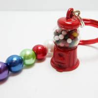 Bubble Gum Machine Keychain Candy Key Chain Glass Pearls Red Lobster Claw Key Ring