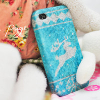 Apple iphone case for iphone iPhone 5 iphone 4 iphone 4s iphone 3Gs : Blue and white yarn of reindeer for Christmas