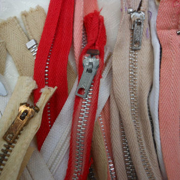 Vintage Zipper Collection 20 pc Lot Various Sizes Metal Conmar Talon Titan Falcon Mark Meba Excel Scovil Fink Seal Coats Flair Crafts Sewing