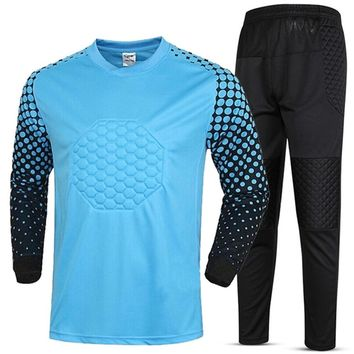 New Survetement football Boys Kids Youth Soccer Training jersey set suit Goalkeeper Sponge Security Jerseys Goal keeper Uniforms