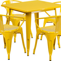 31.5'' Square Yellow Metal Indoor Table Set with 4 Arm Chairs