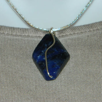30ct. Dark Blue Stone, Semi Precious, Agate, Pendant, Necklace, Diamond Shaped, Natural Stone, 142-15