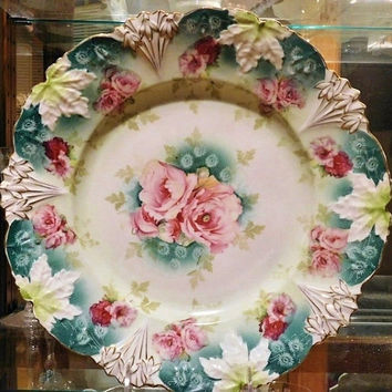 """RS Prussia Large Charger 12"""" 1900s Art Nouveau Victorian Antque Porcelain R S Prussia Cake Plate Platter Plate Rare Large Size RS Prussia"""