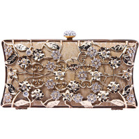 Gold Metallic Magnetic Diamond Flowers Clutch Bag - Sheinside.com