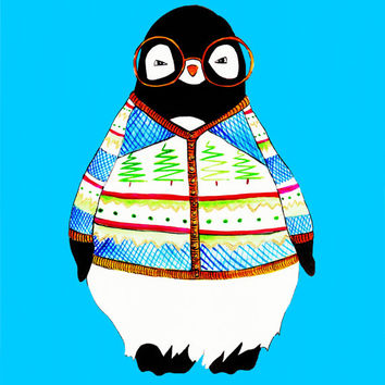 Hipster Penguin With Ugly Christmas Sweater Print