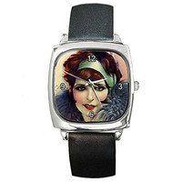 Vintage Art Women with Head Band Silver Square Watch with Leather Band