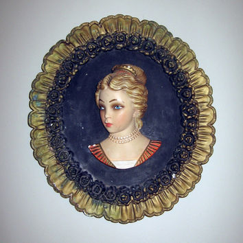 "Renaissance Girl Chalkware Wall Cameo Plaque vintage French Shabby chic Large 16"" x 14"" English Downton Abbey Decor"