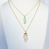 Mystery Quartz Layered Necklace Set