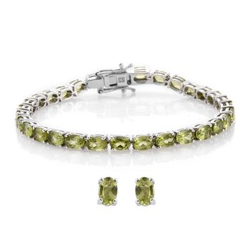 Peridot Tennis Bracelet and Matching Earrings