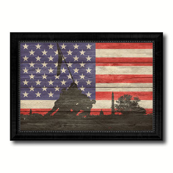 Iwo Jima World War 2 Veterans Flag Texture Canvas Print with Black Picture Frame Home Decor Man Cave Wall Art Collectible Decoration Artwork Gifts