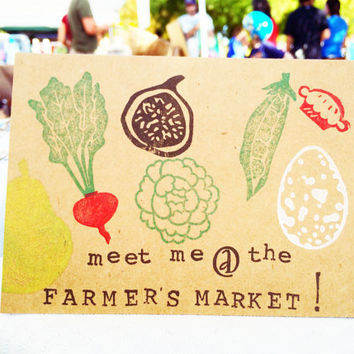 Meet Me At The Farmers Market, Hand Stamped Blank Greeting Card, Farmer's Market Card, Handmade Greeting Card, Holiday Gifts, Christmas Gift