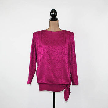 90s Long Sleeve Silk Blouse Women Oversized Top Jacquard Fuchsia Small Medium Size 6 Blouse Liz Claiborne Vintage Clothing Womens Clothing