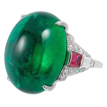 25.83 Carat Emerald Ruby Diamond Platinum Ring
