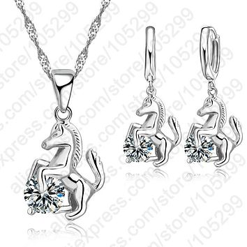 Jemmin 2017 Trendy Horse Design Pendant 925 Sterling Silver Fine Jewelry CZ Necklace Earring For Women Wedding Set Gift