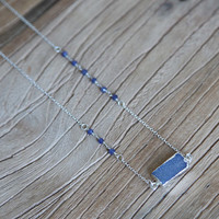 Blue crystal druzy and sterling silver bar necklace