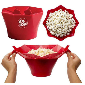 Microwave Silicone Popcorn Bowl Kitchen Easy Tools